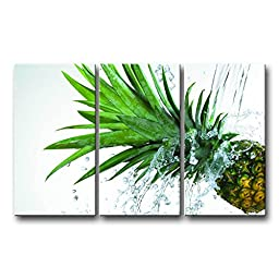 So Crazy Art® 3 Panel Green Wall Art Painting Ananas Spash Water Pineapple Pictures Prints On Canvas Food The Picture Decor Oil For Home Modern Decoration Print