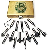 MLCS 8377 15-Piece Router Bit Set with Carbide-Tipped 1/2-Inch Shanks