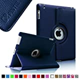 Fintie 360 Degree Rotating Stand Smart Cover PU Leather Case with Wake/Sleep Function for Apple iPad 4th Generation Retina Display/New iPad 3 /iPad 2 - Navy
