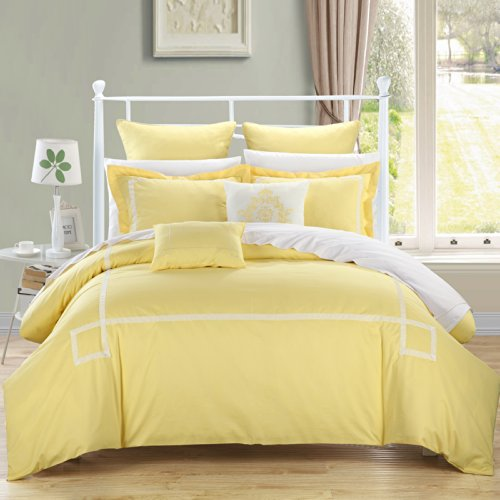 Best Buy! Chic Home Woodford Yellow 11-Piece Bedding Embroidered Comforter Set Queen size Cozy and E...