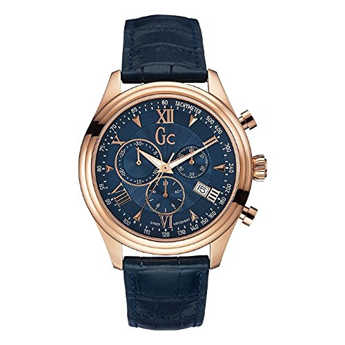 Guess Collection Men's 44mm Chronograph Blue Calfskin Quartz Date Watch Y04008G7