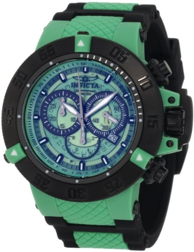 Invicta Subaqua Men's Quartz Watch with Green Dial Chronograph Display and Black Stainless Steel Plated Strap 0937