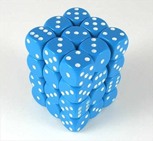 Chessex Manufacturing 25816 Opaque Light Blue With White - 12 mm Six Sided Dice Set Of 36 by Chessex Manufacturing