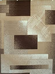 Generations Brand New Contemporary Brown and Beige Modern Squares Area Rug, 7\'10\