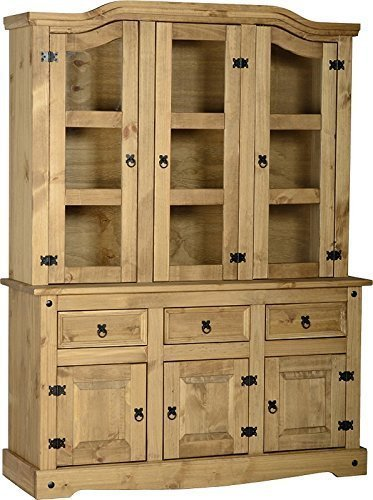 "Corona 4ft-6"" Buffet Hutch Glazed Dresser"