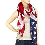 "Falari Large USA American Flag Scarf Beach Wrap Soft Lightweight 72"" X 36"""