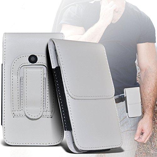 (White) Samsung Rex 60 Schutz PU-Leder Gürtelholster Pouch Tasche Halter By Fone-case