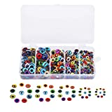 OLOEY 150PCS 8MM/10mm/12mm/14mm/15MM Assorted Round Glass Dragon Eyes Flatback Scrapbooking Dome Covered Cabochons for Doll Making and Jewelry Settings Craft