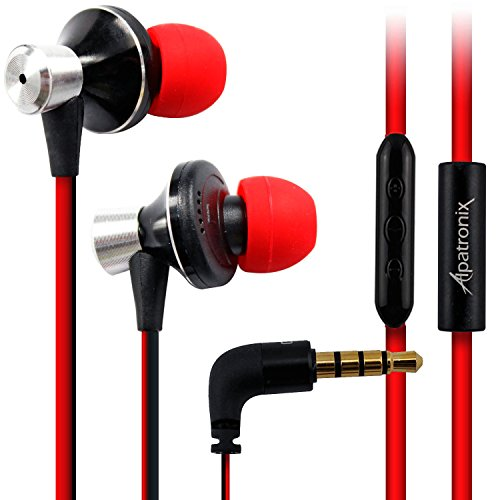 Headset Earbuds, Alpatronix® [EX100] High Performance 3-Button Volume & Playback Control Tangle-Free Stereo In-Ear Earphones with Built-in Microphone & Noise-Isolating Headphones Compatible with iPhone 6S Plus, 6S, 6 Plus, 6, 5S, 5C, 5, 4S / iPad 4, 3, 2, 1, Mini, Air, Pro / iPod Touch, Nano, Shuffle, Macbook, iMac & other Apple iOS Devices - (Red/Black)