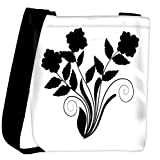 Snoogg abstract silhouette of decor floral elements Womens Carry Around Cross Body Tote Handbag Sling Bags