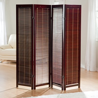 CK Group Tranquility Wooden Shutter Screen Privacy Screen Room Divider in Rosewood - CKG006