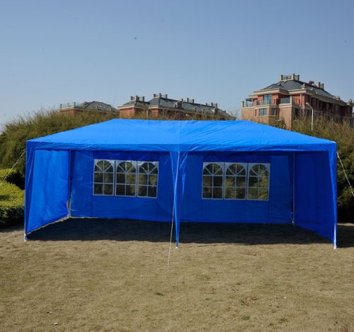 Outsunny 10' x 20' Gazebo Canopy Party Tent w/ 4 Removable Side Walls - Blue