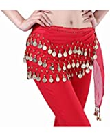 EmaxDesign Red Belly Dance Skirt Hip Scarf