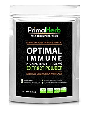 """Optimal Immune: Astragalus & Medicinal Mushrooms Pure """"Extract"""" Powder - High Potency - Powerful Antioxidant, Immune Support, Immune Booster and Energy Support - Astragalus, Maitake Mushroom, Reishi Mushroom and Chaga Mushroom - Highly Absorbable - 4oz (1"""