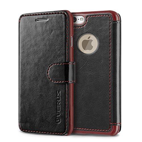iPhone6 レザーケース VERUS Dandy Layered Leather ブック タイプ 手帳型 PU レザー ケース for Apple iPhone 6 4.7 インチ 2014 ブラック + ディープレッド 【国内正規品】