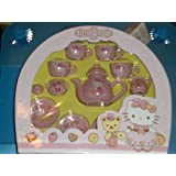 Hello Porcelain Deluxe Tea Set: Pink Dress Hello Kitty with Hearts and Teddy Bear