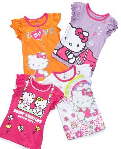 Hello Kitty Kids Shirts, Little Girls Graphic Tees Purple 5
