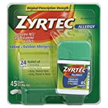 Zyrtec Allergy, Original Prescription Strength, 10 mg, Tablets, 45 tablets