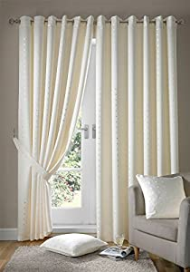 "Jacquard Check Cream 90x108"" 229x274cm Lined Ring Top Eyelet Curtains Drapes from Curtains"
