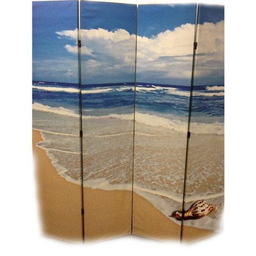 Ore International 4-Panel Room Divider, Seashell By The Seashore front-739531
