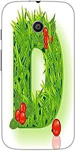Snoogg Vector Grass Letter Designer Protective Back Case Cover For Motorola E...