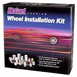 McGard 84827 Chrome/Black (M14 x 1.5 Thread Size) Cone Seat Wheel Installation Kit for 8-Lug Wheels