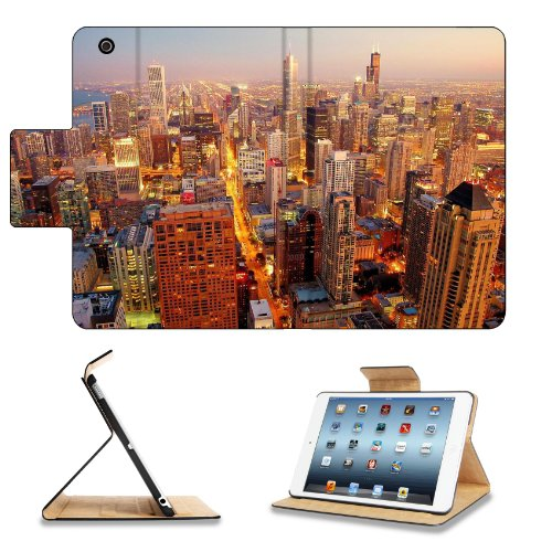 Cityscapes Chicago Buildings Usa Lights Apple Ipad Mini Retina Display Flip Case Stand Smart Magnetic Cover Open Ports Customized Made To Order Support Ready Premium Deluxe Pu Leather 8 Inch (205Mm) X 5 1/2 Inch (140Mm) X 11/16 Inch (17Mm) Msd Ipad Mini R