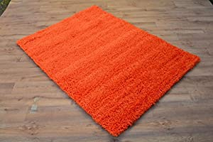 "Shaggy Rug 963 Plain 5cm Floor Carpet Thick Soft Pile Modern Stylish 100% Berclon Twist Fibre Non-Shed Polyproylene Heat Set - AVAILABLE IN 7 SIZES by Quality Linen and Towels (60cm x 220cm (2ft x 7ft 3""), Orange) by Quality Linen and Towels"