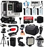 GoPro HERO4 Hero 4 Black Edition 4K Action Camera Camcorder with Ultimate Accessory Bundle includes 64GB MicroSD + 3x Extra Batteries + Home & Car Charger + Card Reader + Large Case + Action Stabilizer Hand Handle + Full Size Tripod + Car Suction Cup Mount + LED Video Light + Head Helmet Strap + Dust Cleaning Kit(CHDHX-401)