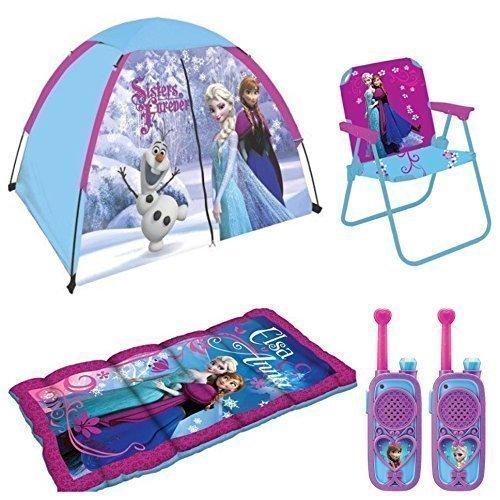 Disney-Frozen-Kids-IndoorOutdoor-Adventure-5-Piece-Camp-Set-4-x-3-Tent-Sleeping-Bag-Patio-Chair-and-Walkie-Talkies