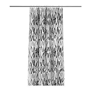 """IKEA Duschvorhang """"Fjärdgrund"""" in 180x200cm - transparent mit grau schwarzem Muster - kürzbar - aus 100% PEVA"""