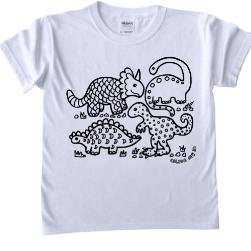 Dinosaur Design T-Shirt for colouring in.