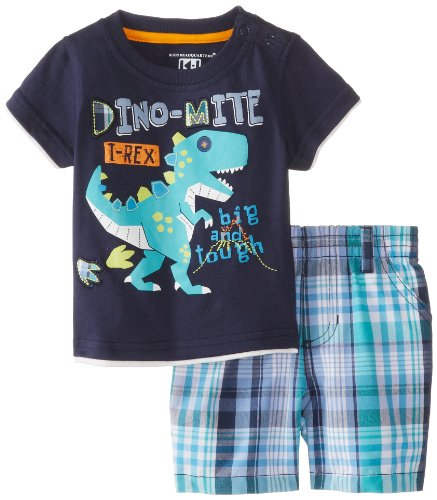 Kids Headquarters Baby-Boys Newborn Crew Neck Tee With Plaided Shorts Dino-Mite, Navy, 6-9 Months front-978494