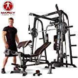 Marcy MD-9010G Home Gym Smith Machine Grey/Gold/Cream - Removable Weight Bench | Linear Ball Bearings | 272kg Weight Loadby Marcy