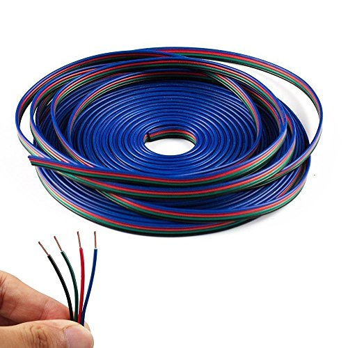 TronicsPros High Quality 4 Pin 4 Color 20m RGB Extension Cable Wire for Both Single Color and RGB 5050 3528 LED Strip(20m/65.6ft) (Wire 4 compare prices)