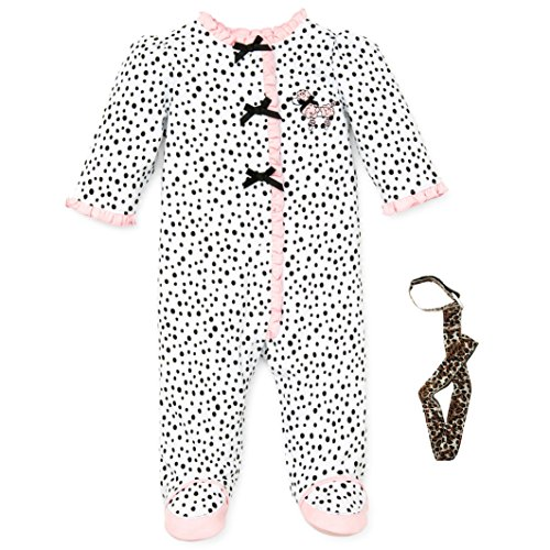 Little Me Girl Footie Footed Sleeper Sleep N Play and Tether Pink Puppy 6M