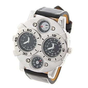66 Black 2 Time Display Quartz Mens Military Army Sport Wrist Watch Brown Leather