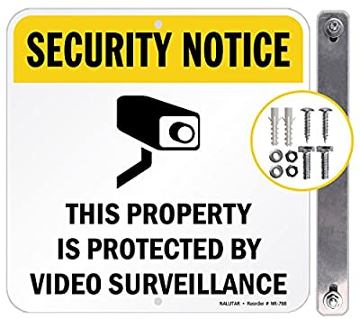 """Video Surveillance Sign Aluminum-Home Security signs-3M Engineer Grade Reflective Warning System Signs--10 """"x10 """" Square with free Accessories by THINELS"""