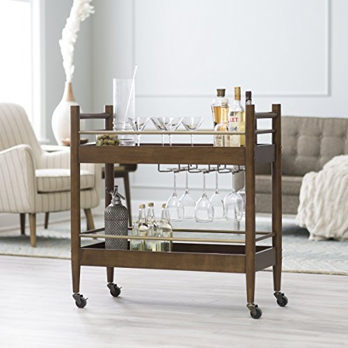 Belham Living Carter Mid-Century Modern Bar Cart, Crafted of Engineered Wood, Perfect for Indoor and Outdoor Use (Bar Cart Wood compare prices)