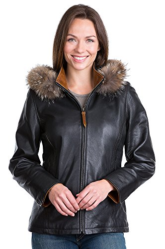 Marie Claire Lambskin Leather Jacket with Coyote Fur Trim, BLACK, Size LARGE (14-16)