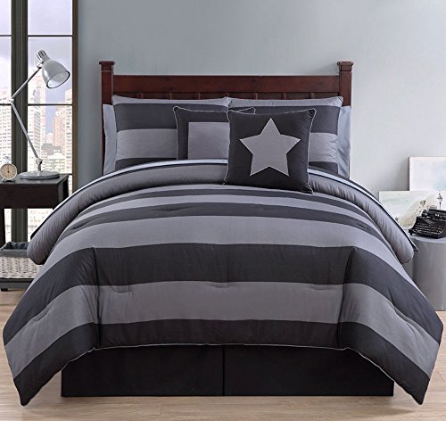 Comforter Sets Twin XL Dorm Bedding Black and Gray Contemporary Striped 8 Pc. Sleep Bedroom Goodnight - Bed in a Bag Set (Good Night Gecko compare prices)