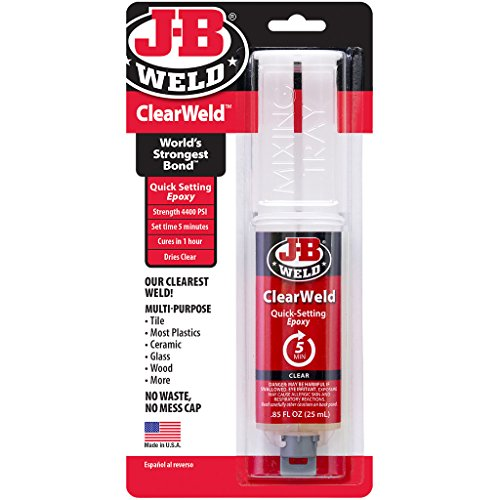 J-B Weld 50112 ClearWeld Quick-Setting Epoxy Syringe - Dries Clear - 25 ml