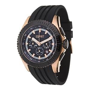 Esprit - ES101891005 - Motorsport Rose Black - Montre Homme - Quartz Analogique - Cadran Noir - Bracelet Caoutchouc Noir