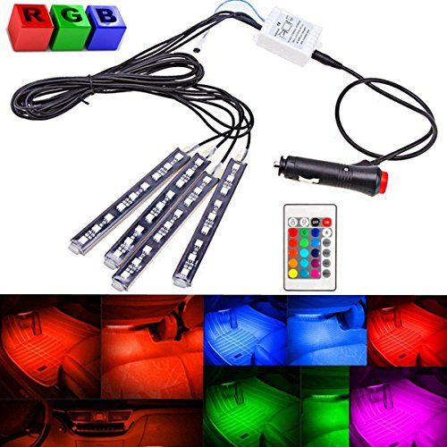 AUDEW 4-Piece 8 Colors Car Interior Light Strips 9LED 6W Waterproof Neon Decoration Lamp LED, Interior Underdash Lighting Kit, Control Wireless Interior Atmosphere lights Lamp (Car Color Led Lights compare prices)