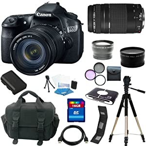 Canon EOS 60D 18 MP CMOS Digital SLR Camera with 3.0-Inch LCD and EF-S 18-55mm f/3.5-5.6 IS Lens + EF 75-300mm f/4-5.6 III Telephoto Zoom Lens 16GB Package