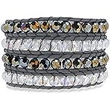 Rafaela Donata Bracelet femme cuir véritable gris cristal de verre argenté / arc en ciel 60291043