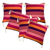 Belive-Me Cotton Pink-Maroon With Tassels Cushion Covers (16X16 Inches) Set Of 5