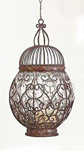 Round BUBBLE BLOWN GLASS Candle Lantern Tabletop Hanging Outdoor Patio