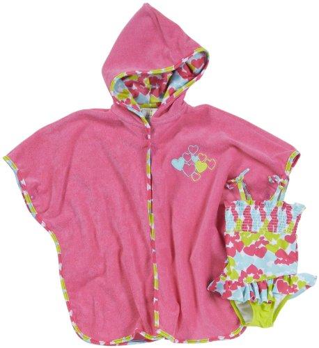 Absorba Baby-Girls Newborn Floral Robe And Swim Set, Dark Pink, 3-6 Months front-833859