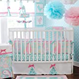My Baby Sam 4 Piece Pixie Baby Crib Bedding Set, Aqua thumbnail